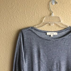 Loft Ann Taylor Blue White Striped Long Sleeve Top